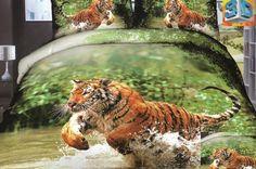 Zielona pościel do sypialni z biegnącym tygrysem