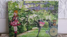 Prima doll canvas, garden scene