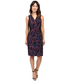 Ellen Tracy Color Block Wrap Sheath - I already have a lot of dresses similar to this, but I have them because they're flattering and easy to wear. Vee neck, knee-length, nice colors.