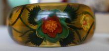 Art Plastic--Reverse-Carved Apple Juice Bakelite Bangle Bracelet