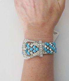 cowgirl bling rhinestone faux turquoise buckle belt stretch bracelet - BEAUTIFUL! BAHA RANCH WESTERN WEAR ebay seller id  SOLOEDITION