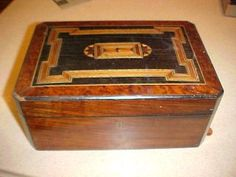 Antique Victorian 1800 ' S Sewing Box Inlaid Inlay Wood Lace Jewelry