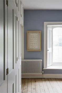 not sure which room, lounge stairs maybe, bedroom with walls in Lulworth Blue Estate Emulsion and woodwork/ceiling in Wimborne White Estate Eggshell and Estate Emulsion. Home, House Inspiration, Home Bedroom, Room Colors, Farrow And Ball Lulworth Blue, Blue Walls, House, Interior Design, Bedroom Colors