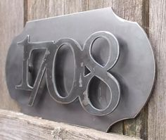 Custom metal house numbers pop out on metal backplate numbers Set of
