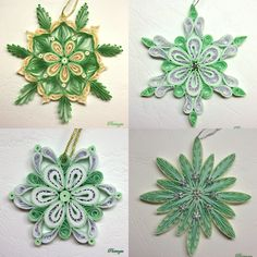 Green quilled snowflakes