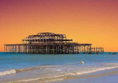 The Old West Pier Brighton 'Sunset', Also available as a Greetings Card from www.tonybowallphotography.com