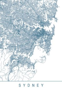 SYDNEY MAP Minimalist Sydney Art Print by EncoreDesignStudios Sydney Map, City Map Poster, Travel Wall Art, Rock Posters, Map Design, Office Art, City Maps, Plans, Wall Art Designs