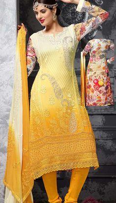 Indian Designer Yellow Georgette Churidar Kameez Party Wear Dresses,