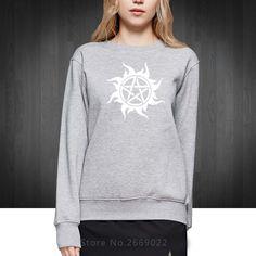 fierce ghost Supernatural protective symbols Printed Women Hoodies Fashion 2016 Cotton Sweatshirts For Woman Girls