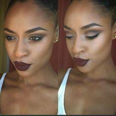 black girl with burgundy lipstick, makeup inspiration, black womens inspiration … – beauty Makeup On Fleek, Flawless Makeup, Gorgeous Makeup, Love Makeup, Makeup Tips, Beauty Makeup, Makeup Looks, Hair Makeup, Makeup Ideas