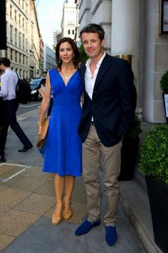 Danish Crown Prince Frederik and Crown Princess Mary in matching outfits.