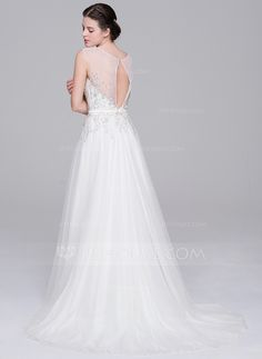 A-Line/Princess Sweetheart Sweep Train Tulle Wedding Dress With Beading Appliques Lace Sequins (002071531)