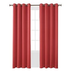 "Seymour Room Darkening Grommet Curtain Panel Coral (Pink) (54""x63"") Sun Zero"