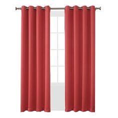 "Seymour Room Darkening Grommet Curtain Panel Coral (Pink) (54""x63"") Sun Zero"
