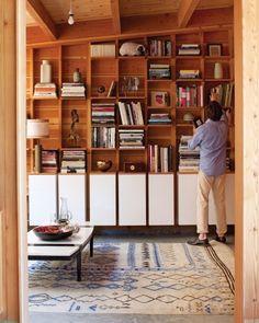 Rec room // Get cabinets for base & reuse cedar planks from bathroom to make built-in for TV