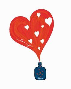 Large 13 X 19  / A little bottle of LOVE / by dekanimal on Etsy, $35.00