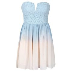 PASTEL LACE TOP DIP-DYE DRESS (160 PLN) ❤ liked on Polyvore featuring dresses, vestidos, short dresses, robe, lace cocktail dress, mini dress, blue dress, strapless mini dress and blue ombre dress