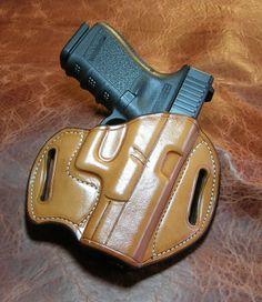 Gibson Gunleather holster for Glock 19, 23 or 32.  Right-hand, premium Hermann Oak leather, heavy stitching, detail molding, 15-degree rake.  www.BruceGibsonDesign.com
