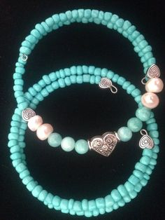 2 Turquoise and Hearts Wraparound Bracelets by AllaLunaDesign
