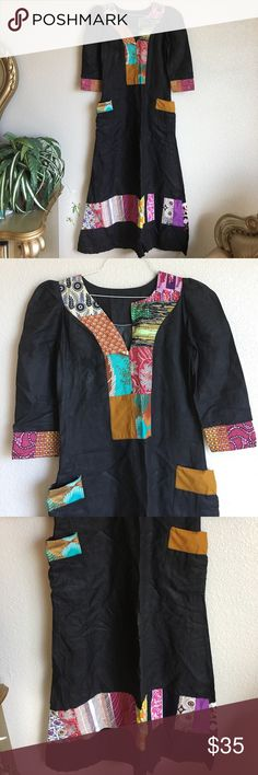 """Adorable Kaftan Adorable and unique kaftan ! Linen material with Ankara African print inserts around collar, arm cuffs, pockets and hem. Bust is 36"""" but remember it should fit a bit loose, shoulder is 14"""", waist 32"""", length 55.5"""" . Fits a sz 0-4 Dresses Maxi"""