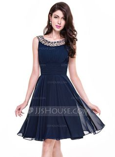 A-Line/Princess Scoop Neck Knee-Length Chiffon Cocktail Dress With Ruffle Beading (016065518) $116.49