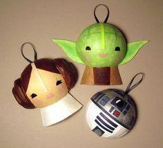 Yoda, R2-D2 & Princess Leia Christmas ornaments.