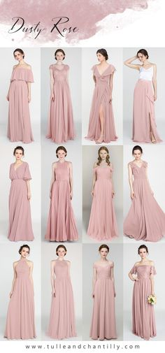 Mixing and matching dusty rose bridesmaid dresses with fashion ideas for 2021 wedding color ideas Wisteria Bridesmaid Dresses, Short Bridesmaid Dresses, Bridal Dresses, Bridesmaid Color, Tulle Bridesmaid Dress, Prom Dress, Winter Bridesmaids, Wedding Bridesmaids, Junior Bridesmaids