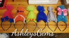 Trolls Headbands Trolls Birthday Party Trolls by AshleysGemsShop