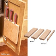 You can size this knife rack to suit any cabinet door and any number of knives. To build it, you just need a table saw and wood scraps. Run the scraps across the saw on edge to cut kerfs. Adjust the blade height to suit the width of the knife blades. You have to remove the saw's blade guard for these cuts, so be extra careful. Also cut a thin strip to act as an end cap. Glue and clamp the kerfed scraps together and sand the knife rack until the joints are flush. To mount it, use two…