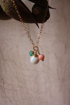 Trio of Mother of Pearl coral Peridot  on a by LittleaJewelry, $35.00