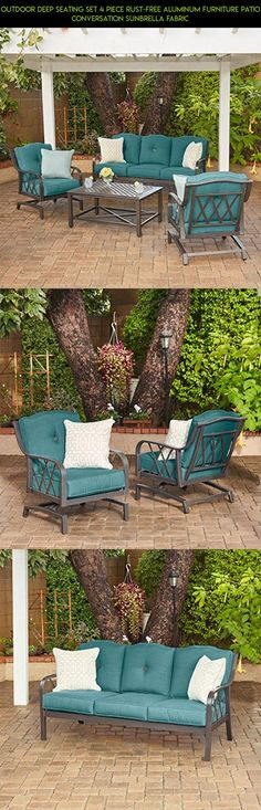 Outdoor Deep Seating Set 4 Piece Rust-Free Aluminum Furniture Patio Conversation Sunbrella Fabric #plans #kit #furniture #products #patio #camera #racing #technology #parts #tech #metal #shopping #drone #fpv #gadgets