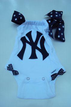 New York Yankees Baseball Onesie Girls Baby Girls by DaintyBoTeek Yankees Baby, New York Yankees Baseball, Ny Yankees, Cute Babies, Baby Kids, Baby Baby, Baseball Onesie, Cool Baby Stuff, Girl Stuff
