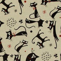 Linen Black Cat 1 - natuur - Kinderstoffen met dieren - Decoratiestoffen voor kinderen - Decoratiestoffen dieren - stoffen.net
