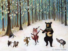 "11x14"" Print Forest Festivities Woodland Art Nursery Art Animal Band (20.00 USD) by JahnaVashti"