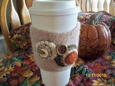 Lovely upcycled Coffee Cozy!