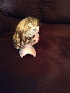 Hand-wefted wig with crown braid, center part and curls. Doll Wigs, Wig Cap, Hand Sewing, Curls, Braids, Crown, Sewing By Hand, Roller Curls, Bang Braids