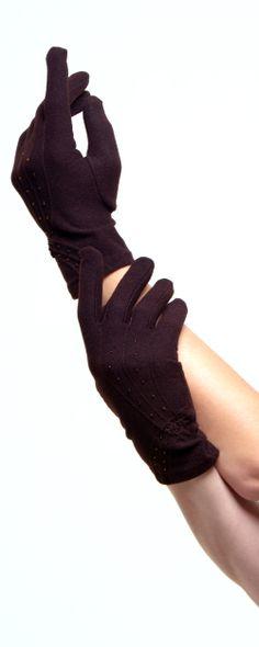 Brown Bead & Flower Wrist Length Gloves #uniquevintage