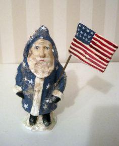 Santa Claus- Americana- papier mache- figurine