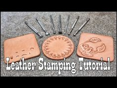 Leather stamping tutorial with Craftool leather stamps Diy Leather Stamp, Diy Leather Tools, Diy Leather Projects, Leather Working Tools, Leather Diy Crafts, Sewing Leather, Leather Gifts, Custom Leather, Leather Art