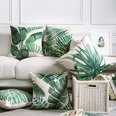 Art Deco vibe for bedroom: Tropical Pillow Cover Cushion Case Green Leaf of Tropical Palm Telopea monstera ceriman Home Decorective Cushion Cover Decor, Nursery Design, Tropical Pillows Covers, Leaves Pillow, Tropical Houses, Tropical Home Decor, Leaf Decor, Tropical Pillows, Tropical Bedrooms