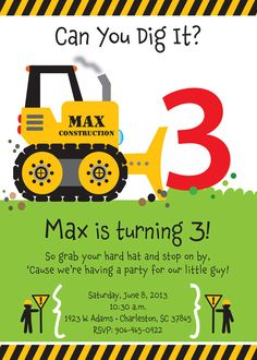 Bull Dozer Birthday Party Invitation for kids by TBoneSquid, $20.00