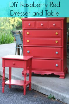 Raspberry Red dresser makeover from Primitive and Proper.