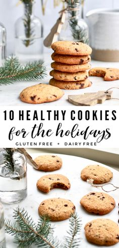 These 10 healthy cookies are a must for the holiday Christmas season. Bake delicious, gluten free, vegan, paleo, or dairy free treats to share the love! Healthy Christmas Treats, Healthy Holiday Recipes, Healthy Cookie Recipes, Healthy Meals For Two, Healthy Cookies, Healthy Baking, Holiday Treats, Gourmet Recipes, Copycat Recipes