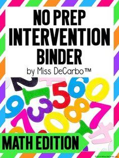 Math Intervention Binder No Prep