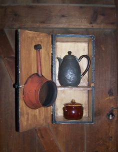 Sheepscot River Primitives - Old box crate re purpose into a useful kitchen cupboard.