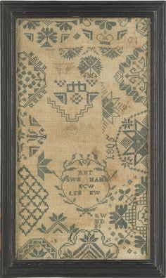 50: Two English Quaker silk on linen samplers, dated : Lot 50