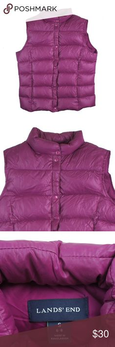 """LANDS' END Pink Goose Down Puffer Vest Mint condition. This pink goose down puffer vest from Lands' End features snap front closures and is filled in goose down. Measures: bust: 39"""", total length: 23"""" Lands' End Jackets & Coats Vests"""