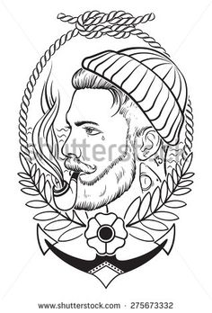 Hand drawn portrait of bearded and tattooed sailor with tobacco pipe. - stock vector