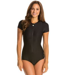 51cf8edff90d1 Next Good Karma Solid Malibu Zip S S One Piece Swimsuit at SwimOutlet.com -  Free Shipping