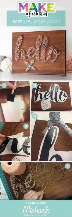 Here's the perfect DIY décor project for a first time apartment or home! This adorable Hello String Art Plaque can be done in just a few steps and will compliment any living space. (Step Father Gifts)